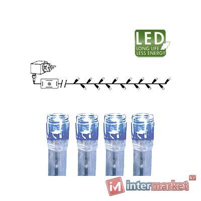 Гирлянда цепочка 7,0м голубая кабель прозрачный 10м 120диодов 8функций LED outdoor